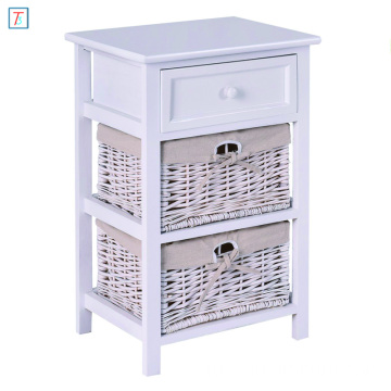 White Night Stand 3 Tiers 1 Drawer Bedside End Table Organizer Wood W/2 Baskets