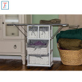Corner Housewares wood wicker ironing board with laundry basket