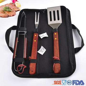 handle is wood bbq tools set with a bag