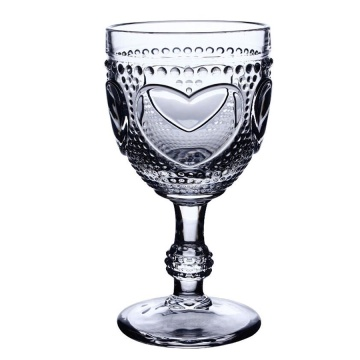 Heart pattern embossed wine glass