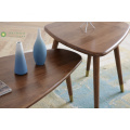 Dark Brown Coffee Table Set Solid Rubber Wood