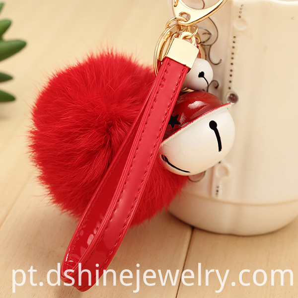 Rabbit Fur Ball Charm Keychain