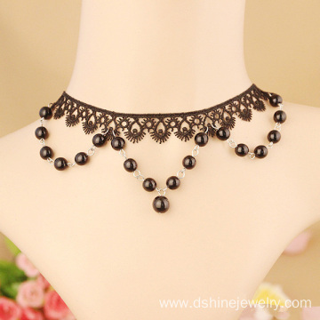Customized Gothic Choker Beaded Crochet Lace Tassel Necklace