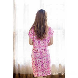 Excellent quality for Fashion Knitted Nightdress Pink flower printing viscose nightdress for women supply to Venezuela Factories