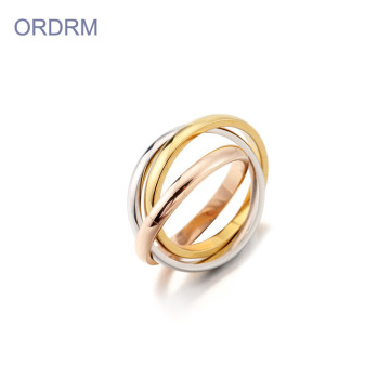 Interlocking Tri Color Stackable Rings Band For Her