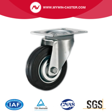 Plate Swivel Metal Core Black Rubber Industrial Caster
