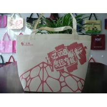 Cream-colored fashion handle style non-woven shopping bag