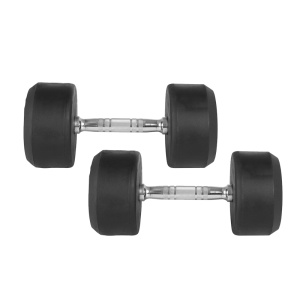 50LB Black Rubber Round Dumbbell