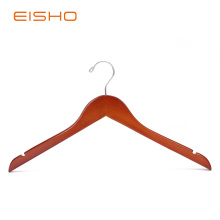 EISHO Cherry Color Wooden Shirt Hangers With Notches