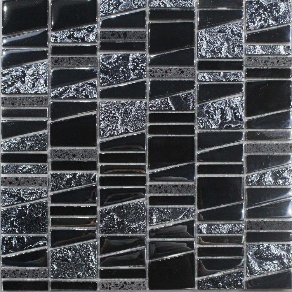 Black Irregular Chip Mosaic Tile