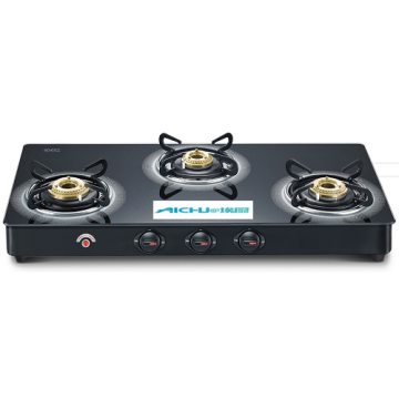 Black Table Schott Glass Top Gas Stove