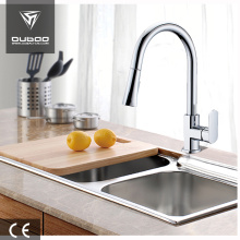 Long neck kitchen faucet with pull-out spray