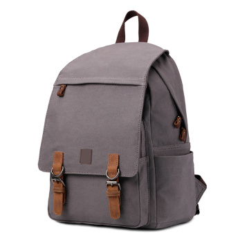 Canvas School Backpack Bag with USB Port