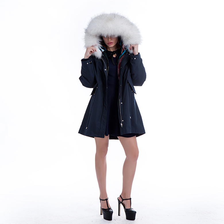 White plush collar parka