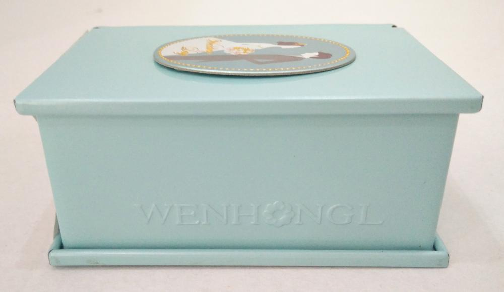 Blue Wedding Tin Box with lid