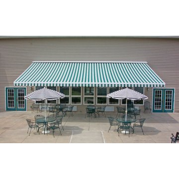 Retractable arms awning 4.0*1.2M Green/White Stripes