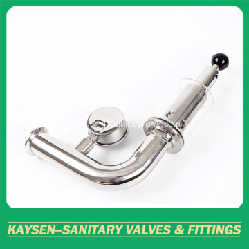Sanitary clamp exhaust air release valve pressure gauge