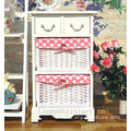 Wooden 2 drawer night stand Bedside table Endtable with 2 wicker basket