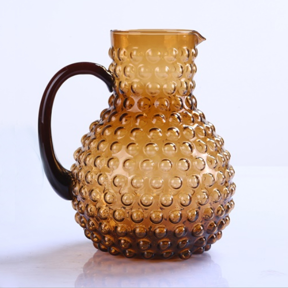 Br 9111 1hand Made Amber Bubbles Water Glass Pitcher