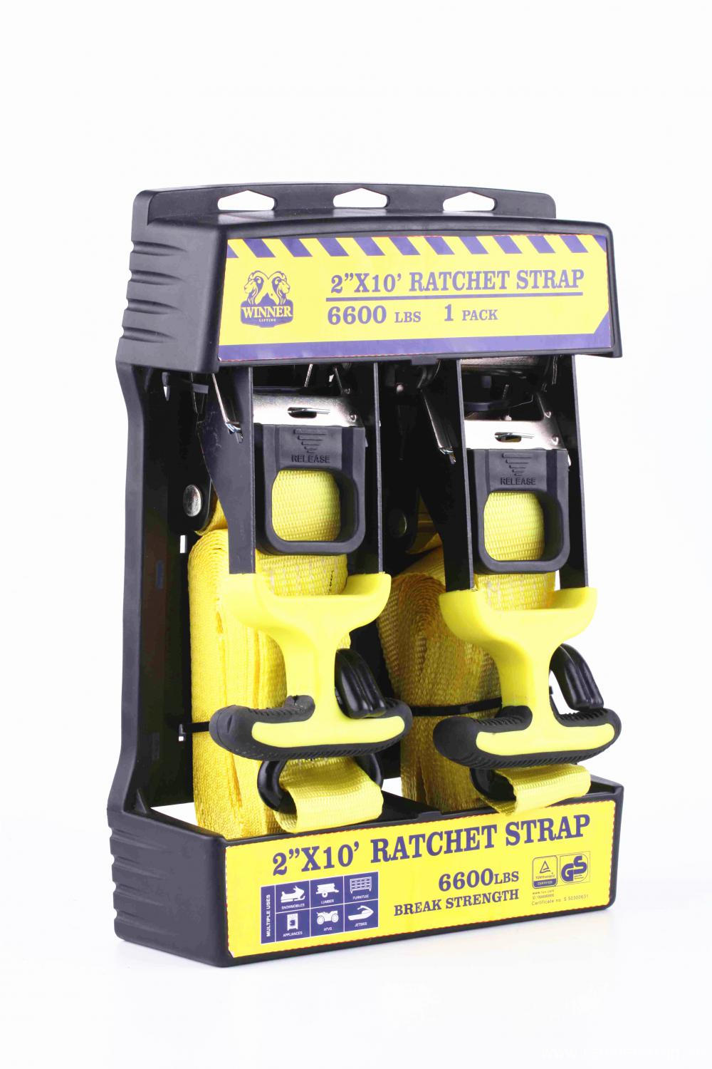 Packaged Soft Rubber Handle Ratchet Tie Down Strap with 3000KGS