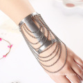 Silver Plated Metal Chain Tassel Cuff Personalized Bangles