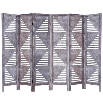 6 Panel Screen Room Divider Wood Folding Oriental Freestanding Tall Partition Privacy Screen Room Divider