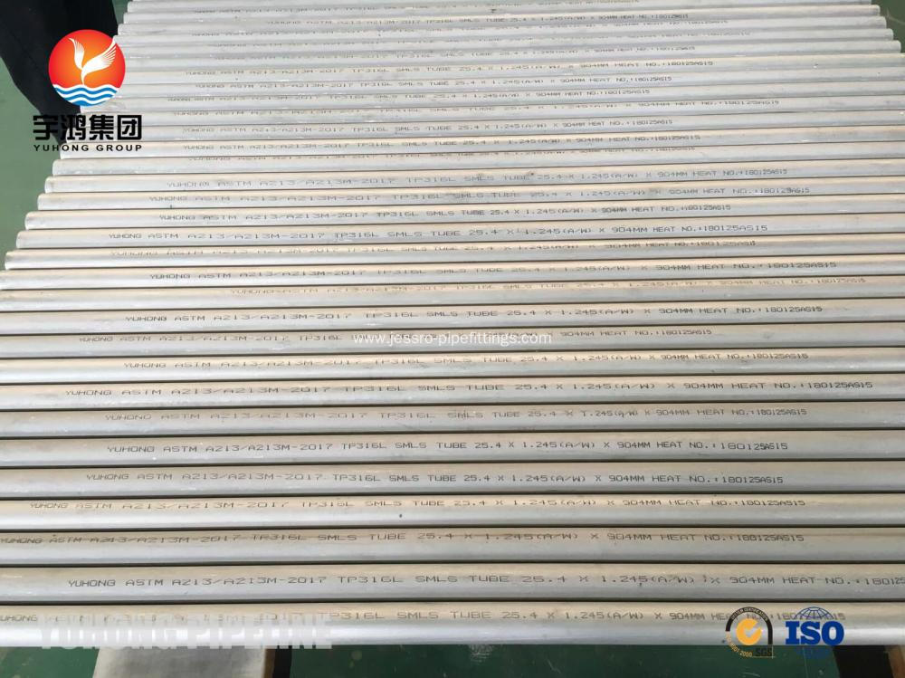 Heat Exchanger Seamless Tube , ASTM A213 TP316L  25.4mm x 1.245mm , 1.4404 / SUS316L