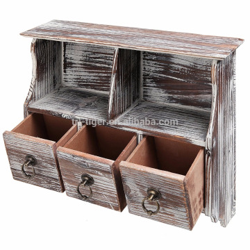 Factory Rustic Brown Wood Wall Organizer Shelf 3 Drawers Metal Hooks Rack Wall Cabinet