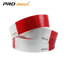 Red alternating with white PVC reflective strips