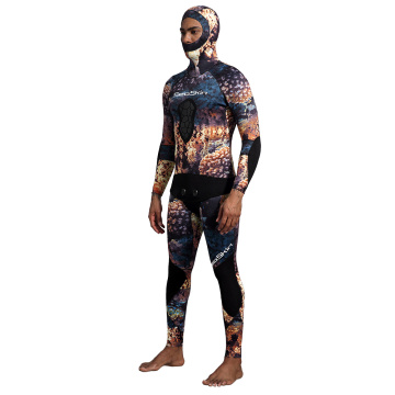 Seaskin Split Two-Piece with Hooded Long-Sleeve Diving Suit