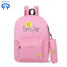 Smiling face set with shoulder bag leisure