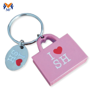 Wholesale metal laser engraved keychain for handbag