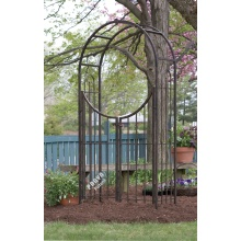 Leading for China Garden Arbor Arch,Metal Garden Arch,Steel Garden Arbor Manufacturer Arched Top Garden Arbor with Gate supply to Ecuador Supplier