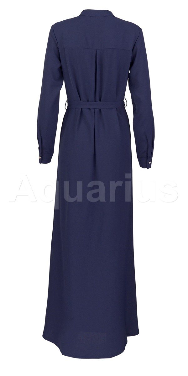 Dark Blue Button A Line Dress