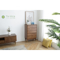 Solid Rubber Wood 5 Drawers Chest Slim Leg