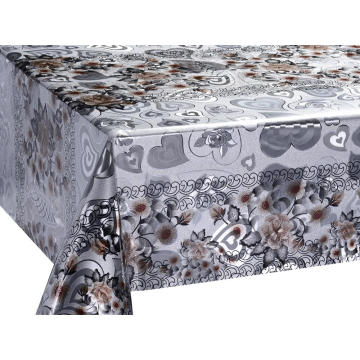Double Face Emboss printed Gold Silver Tablecloth Rental