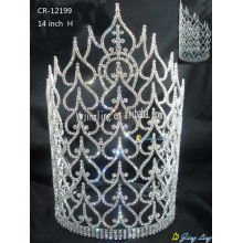 Cheap PriceList for Glitz Pageant Crowns Large special tiara pageant crown CR-12199 export to Costa Rica Factory