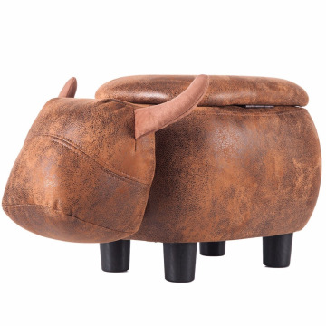 leather wood footstool rest modern Ottoman With Pu Leather shoe storage ottoman,animal footstool