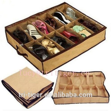 12 Pairs Shoes Organizer foldable zipper fabric storage box
