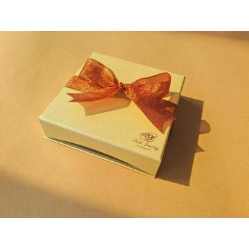 Gold Stamping Logo Jewelry Box with Ribbon