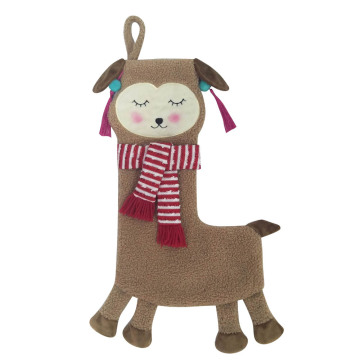 3D christmas stocking with cute llama shape