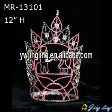 "12"" Custom pink rhinestone pageant crowns wholesale"