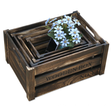 Distressed finish Wood Nesting Box/ Rustic Storage Crates Set for flower pot
