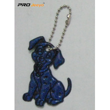 Reflective PVC Blue Dog Key Chain For Bag