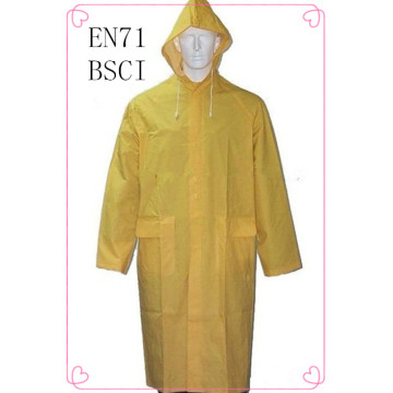 Waterproof Adult yellow long raincoat/pvc raincoat men