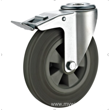100mm European industrial rubber  swivel caster with  brake