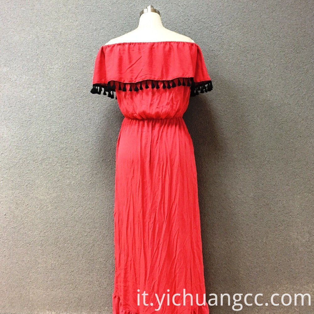 Women's viscose red wrinkle long dress