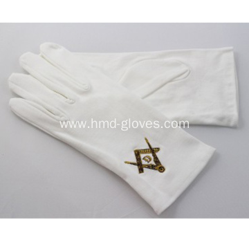 Masonic Gloves Silver Square & Compass