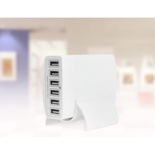 60W 6-Ports Multi USB Wall Charger White Black