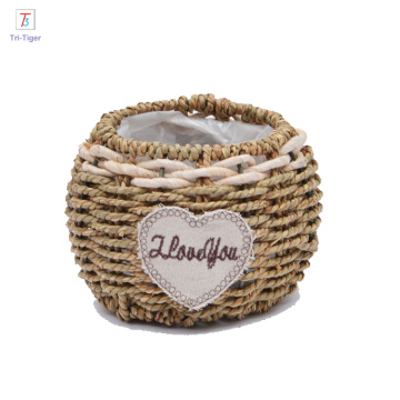 Decorative Wicker Flower Basket Small Woven flowerpot with PVC inner bag